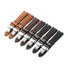 18-22mm Genuine Calf Leather Watch Band Sliver Deployment Clasp Strap For Tissot