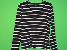 Polo Ralph Lauren Women's Size L Large Striped Long Sleeve V Neck T Shirt