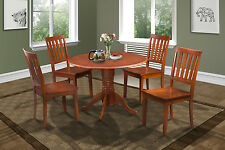 """42"""" ROUND TABLE DINETTE KITCHEN DINING ROOM SET w. WOODEN SEATS IN SADDLE BROWN"""