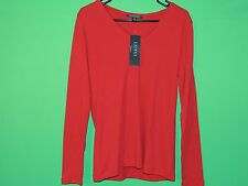 NWT Lauren by Ralph Lauren Women's Size L Large Red Long Slv Shirt NEW $59