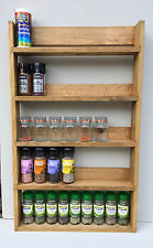SPICE RACK 5 TIERS RECLAIMED WOOD RUSTIC KITCHEN STORAGE WALL MOUNT DEEP SHELVES