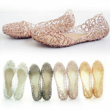Women Crystal Glitter Plastic Jelly Hollowed Beach Ballet Shoes Flats Ballerina