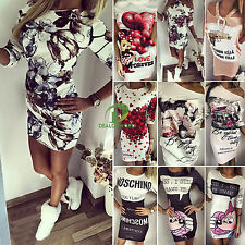 Womens Floral Party Evening Cocktail Bodycon Short Mini Dress Summer Beach Tops