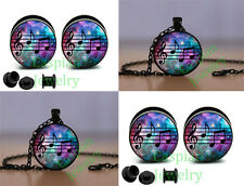 COMBO DEAL GALAXY MUSICAL NOTE EAR GAUGES + MATCHING NECKLACE PROMOTIONAL ITEMS