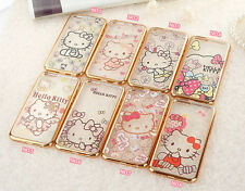 Cartoon Cute Bow Hello Kitty Plating TPU Soft Cover Case for iPhone 6/6 Plus