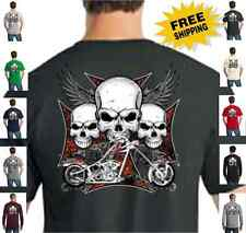 Biker Skulls Wings Cross Custom Chopper Classic Motorcycle New Mens T Shirt