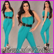 NEW WOMENS LADIES sexy fashion JUMPSUIT OVERALL TOP SHIRT PANTS green S M 6 8 10