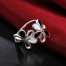 Fashion Lady 925 Silver Plated Flower Jewelry Wedding Engagement Wedding Ring ~