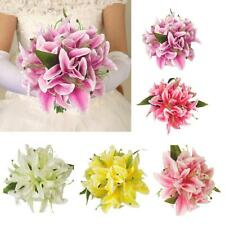 Artificial Silk Lily Home Table Vase Flower Arrangement Bridal Flower 5 Colors