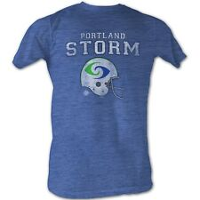 World Football League T-Shirt Portland Storm Adult Blue Heather Tee Shirt