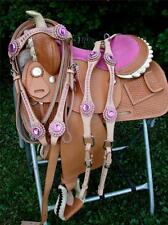 "13"" MED OIL PINK Bling Western PLEASURE SHOW SADDLE BARREL SHOWMAN Headstall BP"