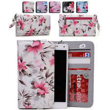Women's Flower Pattern Wallet Case Cover for Smart Cell Phones by KroO ESLGF-4