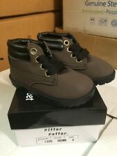 NIB WORK BOOTS Leather Like HiTops Boys/Toddler Shoes Brown with Laces Size 1-10
