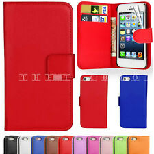 Apple iPhone 4 4S 5 5G Leather Flip Slim Card Money Pouch Book Wallet Case Cover