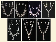 Diamond Crystal Bling Effect Prom Party Costume Jewellery Necklace Earrings Set