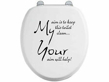 Toilet Seat Stickers Decal 12 Colour Choices Quote Your Aim Will Help Funny Seat