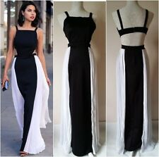 Black and White Maxi Dress with  White Pleated Side Inserts One Size (UK 8-10)