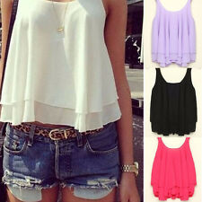 Women Sexy Chiffon Tiered Pleated Swallow Blouse Cropped Layered Tank Crop Tops