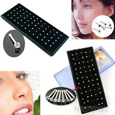 Crystal Rhinestone Nose Ring Stud Stainless Steel Body Piercing Jewelry 60x