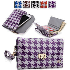 Womens Houndstooth Wallet Case Clutch Cover for Smart Cell Phones by KroO MLPK8