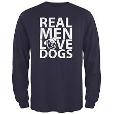 Valentine's Day - Real Men Love Dogs Navy Adult Long Sleeve T-Shirt