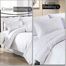 1000 TC 100% Egyptian Cotton Fitted, Flat Sheets & Bed Skirt in UK Hotel White