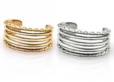 NEW HOUSE OF HARLOW 1960 NICOLE RICHIE GOLD SILVER ETCHED STACK CUFF BRACELET