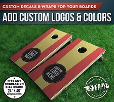 Cornhole Vinyl Decals, Bag Toss Board Wraps, ADD YOUR OWN LOGO & COLORS - Pair