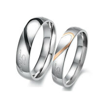 Stainless Steel Real Love Heart Couple Rings Necklace Engagement Wedding Band DO