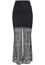 BARDOT WOMENS BLACK VALERIE LACE MAXI SKIRT