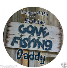 """PERSONALISED GONE FISHING  20 x 2"""" or Large 7.5"""" Edible Cake Toppers Rice Paper"""