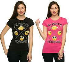 Juniors Womens Emoji Emoticon Casual crew neck Graphic Tee T-shirt Top S M L XL
