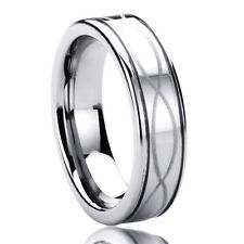 Men Women 6MM Titanium Comfort Fit Wedding Band Ring Infinity Pattern Ring