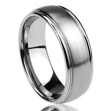 Men Women 8MM Titanium Comfort Fit Wedding Band Ring Brushed Center Domed Ring