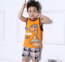 New! Sleeveless Baby&Toddler Kids Boy Orange+Grid Pajama Set Clothing Dinosaur