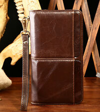 New Mens Clutch Wallet Genuine Leather Credit Card Holder Zipper Purse Phone bag