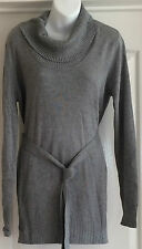 NEW~JOJO MAMAN BEBE~MATERNITY LONG-LINE JUMPER TOP GREY MARL KNITTED WITH BELT