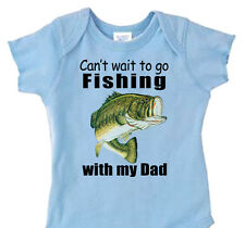 "BLUE BOYS ""Can't Wait To Go FISHING with DAD_GRANDPA_PAPAW"" Bass Fishing Shirt"