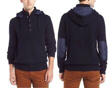 FRENCH CONNECTION FCUK MEN'S NAVY INFANTRY PATCH WORK KNIT HOODIE SWEATER  NWT