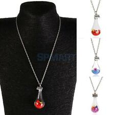 Make a Wish Dry Flower Crystal Drift Bottle Pendant Necklace Red/Blue/Purple