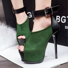 Womens High Heels Shoes Platform Peep-toe Ankle straps Stiletto Sexy Suede Pumps