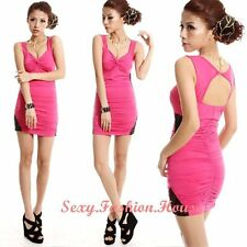 New Graceful Women Strap Ruffle Deep V-neck Open Back Cocktail Mini Dress lH