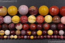 """Natural Moukaite Jasper Gemstone Faceted Round Beads 4mm 6mm 8mm 10mm 12mm 15"""""""