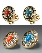 NEW HOUSE OF HARLOW 1960 Antique Gold Arty Enamel Tribal Ring Coral Turquoise
