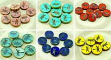 4pcs Picasso Rustic Window Dragonfly Table Cut Flat Coin Round Czech Glass Beads