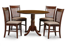 "42"" ROUND TABLE DINETTE KITCHEN DINING ROOM SET WITH NORFOK CHAIRS IN MAHOGANY"