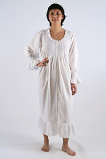 Amelia Ladies Cotton White/Blue Longsleeve w/ Fine Lace Trim Nightgown/Sleepwear