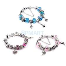 Women Vintage Charm Bracelet Silver Crystal Big Hole Beads European Style Bangle