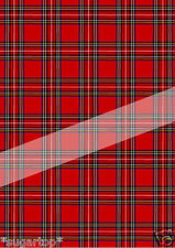 RED STEWART TARTAN  EDIBLE Rice Paper / Icing Decorations Cake Toppers A4 Sheet