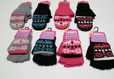 LADIES CAPPED FINGERLESS FAIRISLE TOP QUALITY GLOVES/MITTEN 4 COLOURS ONE SIZE
